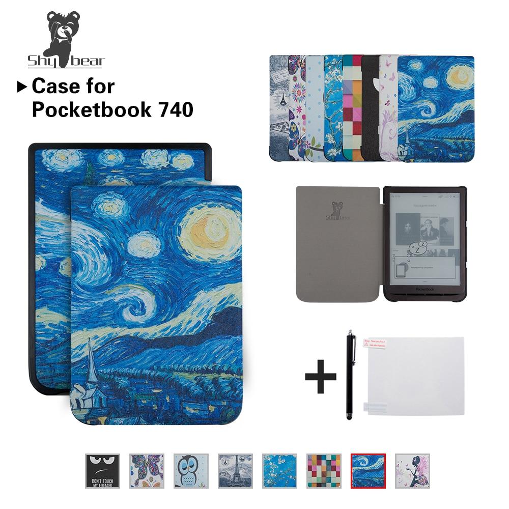Mixte Soie impression Cas pour PocketBook 740 7.8 pouce Tampon Encreur 3 E-Book Auto/wake Tablette cas De Couverture + Cadeaux