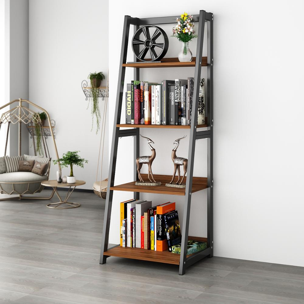 "DEWEL 4-Shelf Ladder Shelf 55"" Bookshelf Industrial Bookcase Vintage 4-Tier Open Display Bookshelf For Office Home"