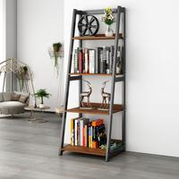 "DEWEL 4 Shelf Ladder Shelf 55"" Bookshelf Industrial Bookcase Vintage 4 Tier Open Display Bookshelf for Office Home"