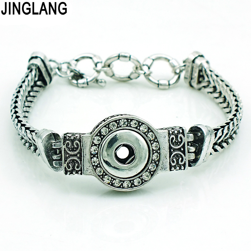 Wholesale Price! New Fashion Silver Gray Interchangeable Link Chain 12mm Ginger Snap Buttons Bracelets&Bangles Jewelry image