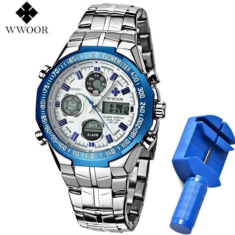 WWOOR Dual Display Man Watch Chronograph Alarm Waterproof Blue LED Watch Men Sports Quartz Wrist Watch Calendar Week Male Clock цена и фото