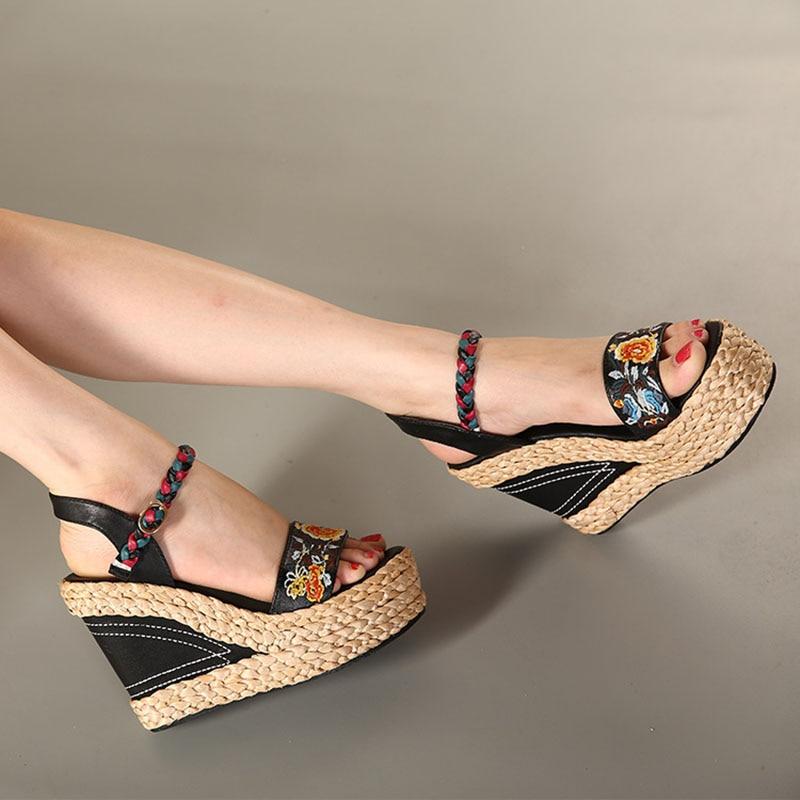 Verano Zapatos Bordado La Fsj01 Moda Casual Dulce De Súper Mujer Las Alta Fsj Tacones Vestido Sandalias Correa Tobillo Señoras Cuñas 2019 vqYUxwf