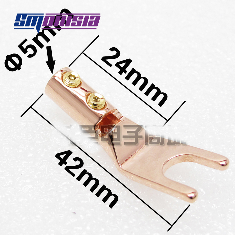 smonisia 5pcs-50pcs High End Speaker Amplifier Terminal Copper Gold-plated Y Fork U Plug Binding Post areyourshop hot sale 10 pcs gold plated binding post amplifier speaker audio connector terminal