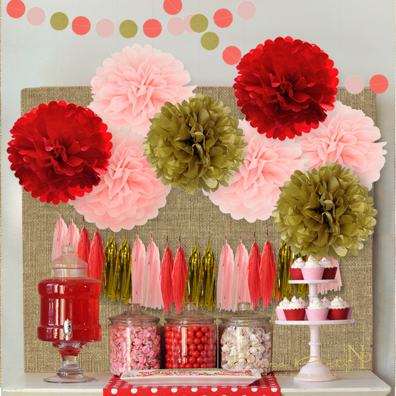 Us 7 79 35 Off Nicro12pcs Mixed Gold Pink Red Party Tissue Paper Flowers Tassel Garland Diy Baptism Birthday Chinese New Year Party Decor In Party