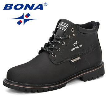 BONA Spring & Autumn Men Boots Split Leather Casual Fahsion Ankle Outdoor Comfortable For Shoes - discount item  48% OFF Men's Shoes