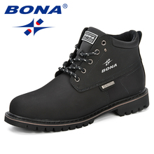 BONA ilkbahar ve sonbahar erkek botları bölünmüş deri erkek rahat moda yarım çizmeler açık rahat erkekler deri çizmeler erkek ayakkabısı