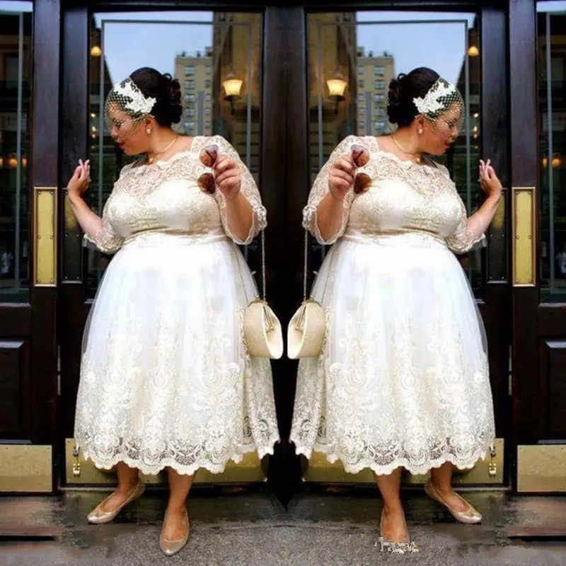 Lace Plus Size Short Wedding Dresses 2019 Tea Length A Line Bridal Gowns  Illusion 3/4 Sleeves Women Wedding gown Vestidos Custom