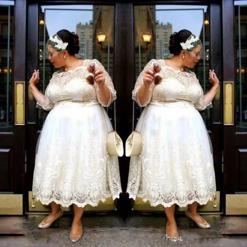 US $105.78 18% OFF|Lace Plus Size Short Wedding Dresses 2019 Tea Length A  Line Bridal Gowns Illusion 3/4 Sleeves Women Wedding gown Vestidos  Custom-in ...