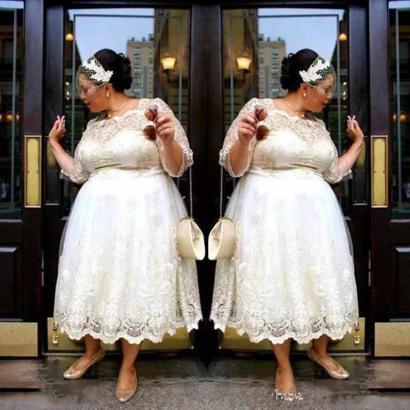 Plus Size Short Wedding Dress Vintage Style Scoop Neckline A-Line Bridal Gown