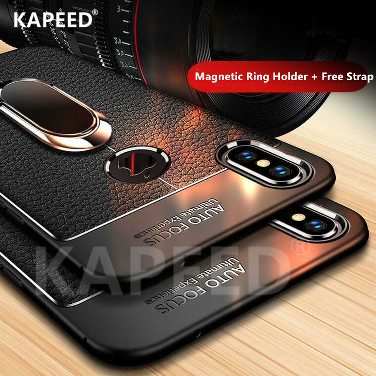 KAPPED For Iphone 6 6S 7 8 Plus Luxury Lychee Leather Magnetic Ring Soft Silicone Phone Case For Iphone X XR XS Max Cover Fundas iphone xr case magnetic