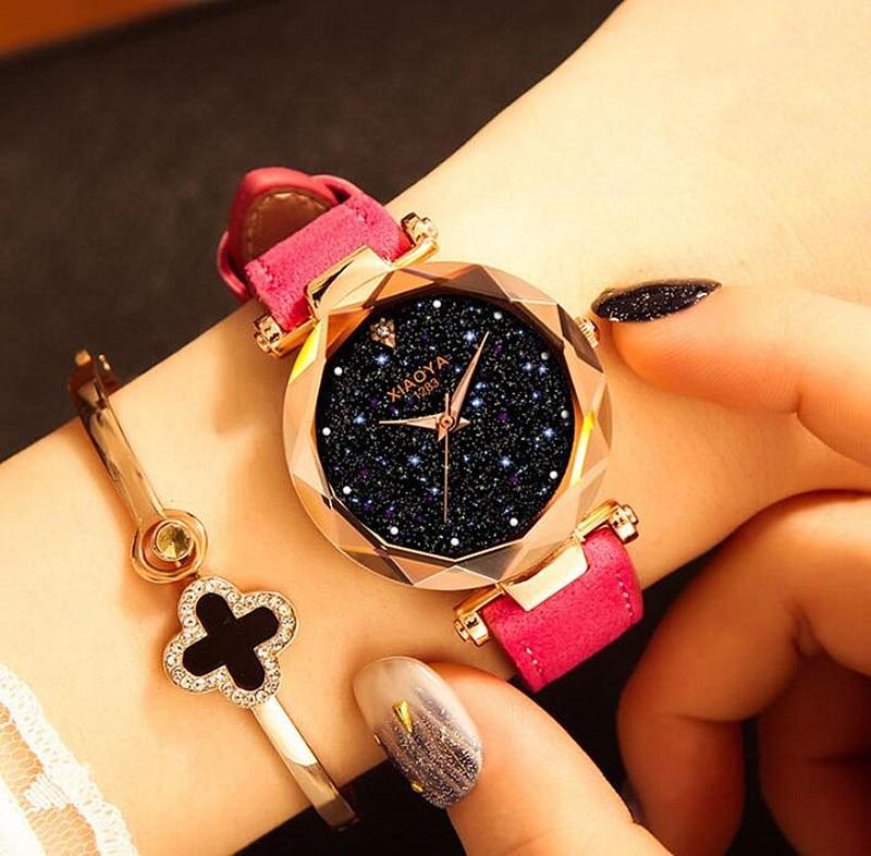 Shine Star Sky Women Watch Fashion Dial Design Clock Luxury Luminous Women's Bracelet Quartz Wrist Watch 2019 New Best Girl Gift