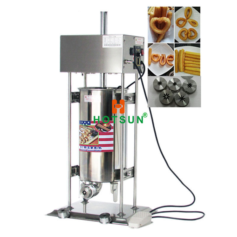 Free Shipping Commercial 15L Auto Electric Spanish Churros Maker Baker Machine 12l electric automatic spain churros machine fried bread stick making machines spanish snacks latin fruit maker