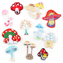 50pcs Mushroom Patches Embroidered Iron On Clothing Patch for Child Clothes Bag Pants Women Dress Stickers