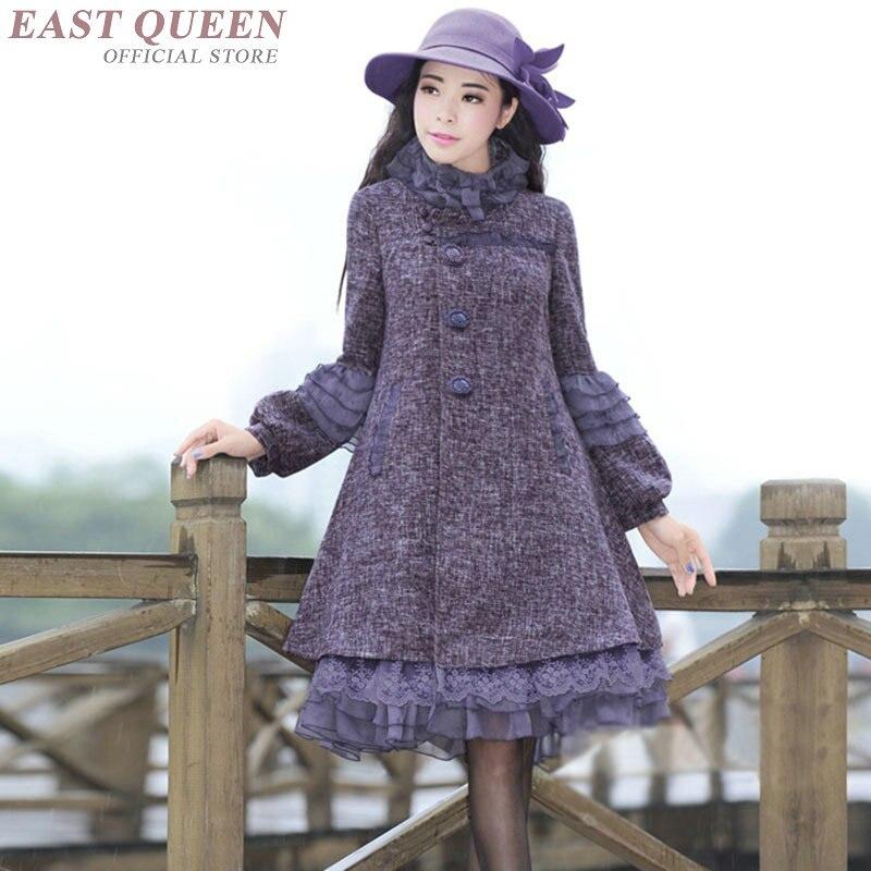 Femmes a-ligne robe en automne haute qualité épaisse pleine lanterne manches hauts robe avec dentelle col montant robes douces AA3334 F