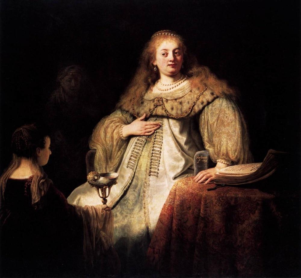 100% ручной работы маслом Размножение на льняном холсте, artemisia 1634 по Рембрандт Ван Рейн, картина маслом ручной работы