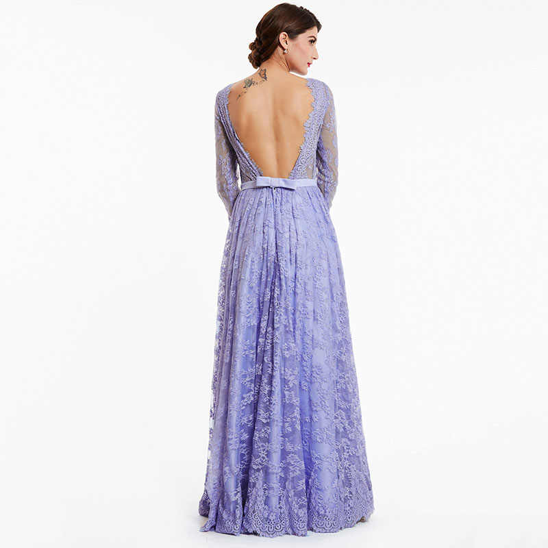 259a828d60c47 Tanpell long evening dress lavender full sleeves lace a line floor length  gown women backless party prom formal evening dresses