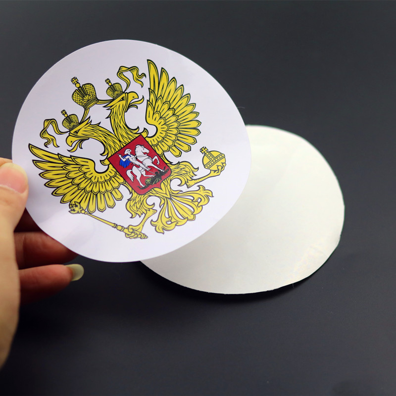 FRCY Coat of Arms of Russia Nickel PVC Car Stickers Decals Russian Federation Eagle Emblem for Car Styling Laptop Sticker