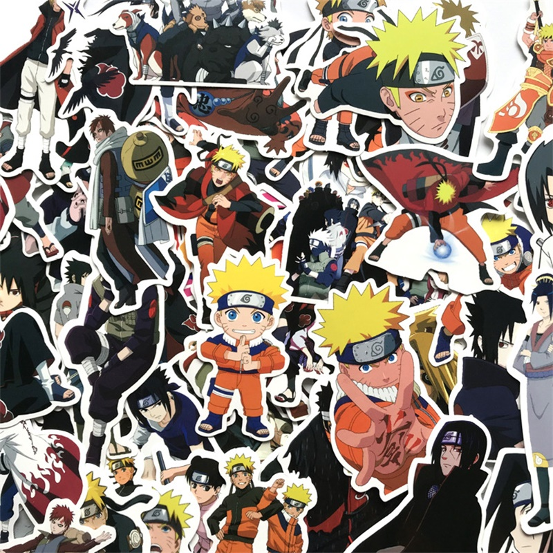 63Pcs Japan Anime Naruto Sasuke Cartoon For Snowboard Laptop Luggage Fridge Car- Styl DIY Scrapbook Craft Decor Cosplay Prop