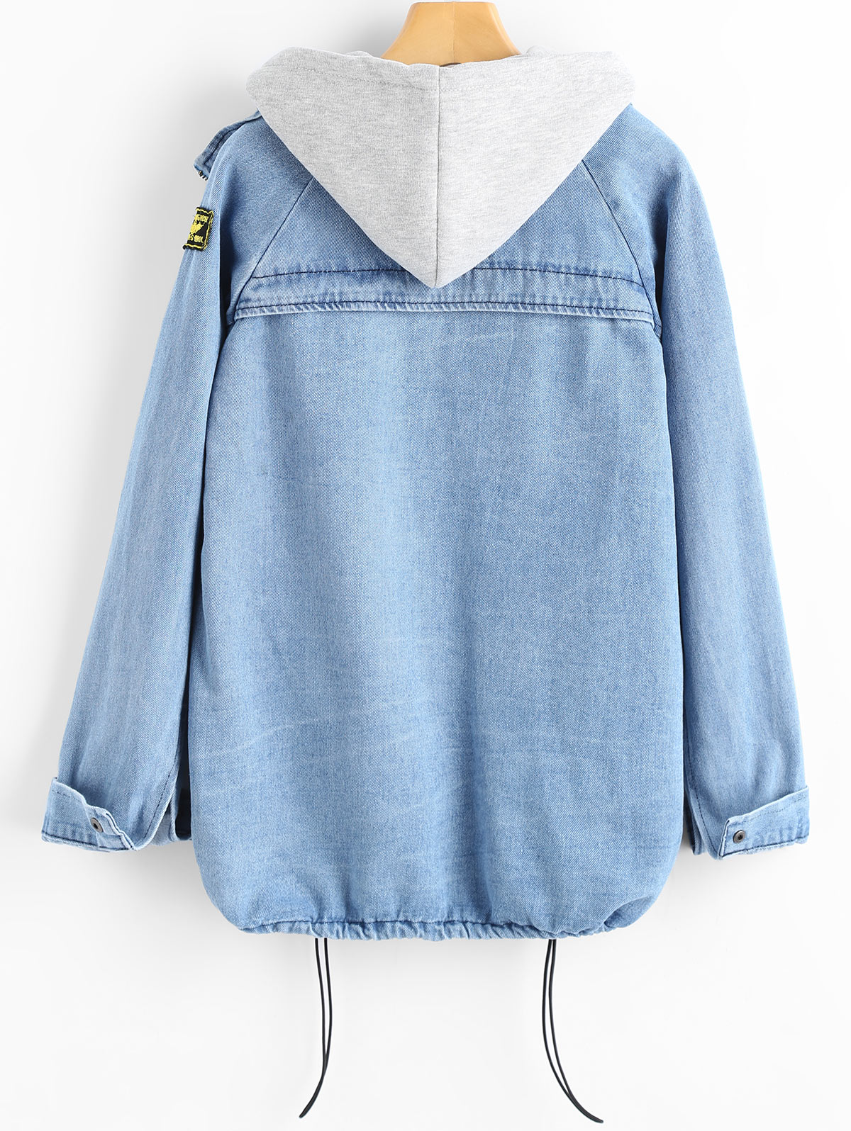 2a94375e73 ZAFUL Button Up Denim Jacket With Hooded 3XL Female Jean Plus Size ...