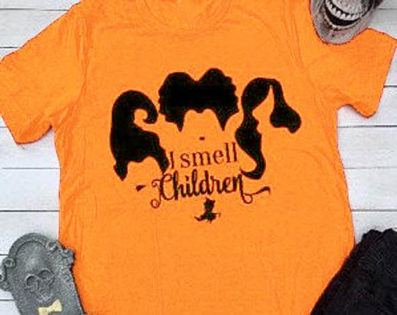 I smell children funny graphic slogan women fashion t-shirt Halloween  horror party style gift girl tees grunge tumblr goth tops