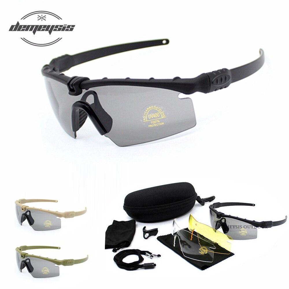 טקטי מקוטב משקפיים צבאי משקפי Bullet הוכחה צבא משקפי שמש עם 3 עדשת גברים ירי Eyewear אופנוע Gafas