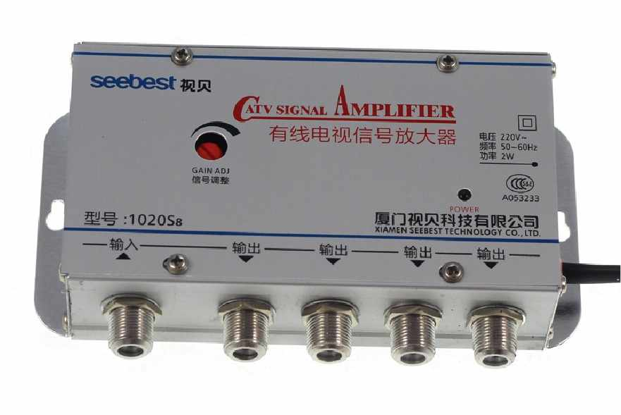 220V 4 Way CATV Cable TV Signal Amplifier AMP Antenna Booster Splitter Set  Broadband Home Tv Equipments 20DB 45MHz~880MHz