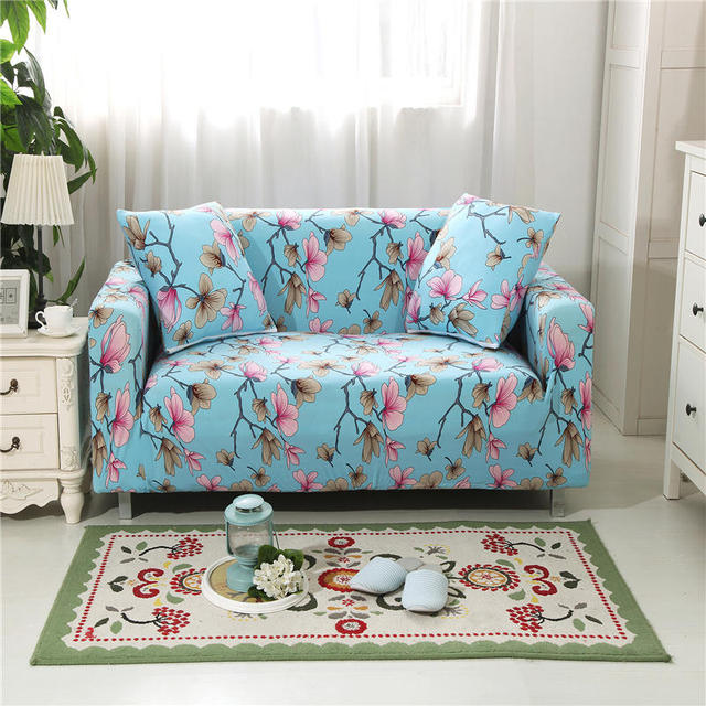 Us 6 23 Blue Twig Pink Flowers Elastic Sofa Protector Cover For Living Room Sofa Slipcovers Sectional L Shape Sofacover 1 2 3 4 Seater In Sofa Cover