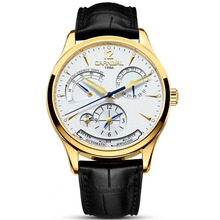Carnival Mens Dual Time Zone Display Multifunction Leather Watchband Automatic Mechanical Watch – gold bezel white dial