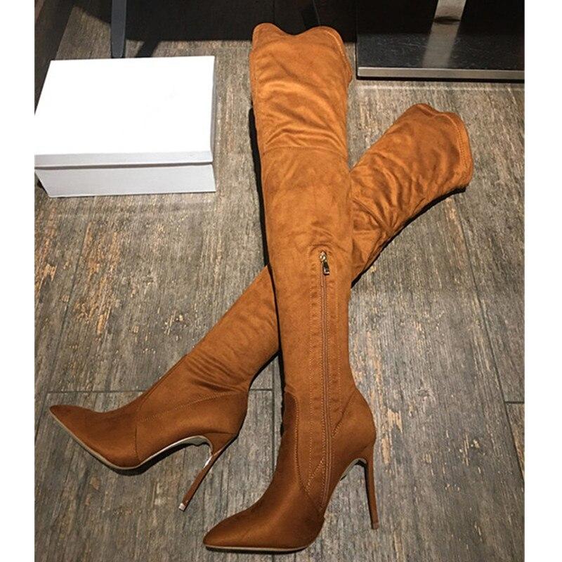 Femme Pic Sur Stiletto Fourrure D'hiver Talons Pic Élégant Chaussures Bottes 12 Sexy Chaussons Longues Bottines De Femmes 2019 Pointu Genou as Haute As Haut 1TW6q58Ww