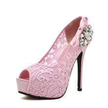 Hot Sale Women Ladies Sexy High Heels Rhinestone Lace Style Wedding Shoes High Heels Peep Toe Platform Woman Summer Office Pumps