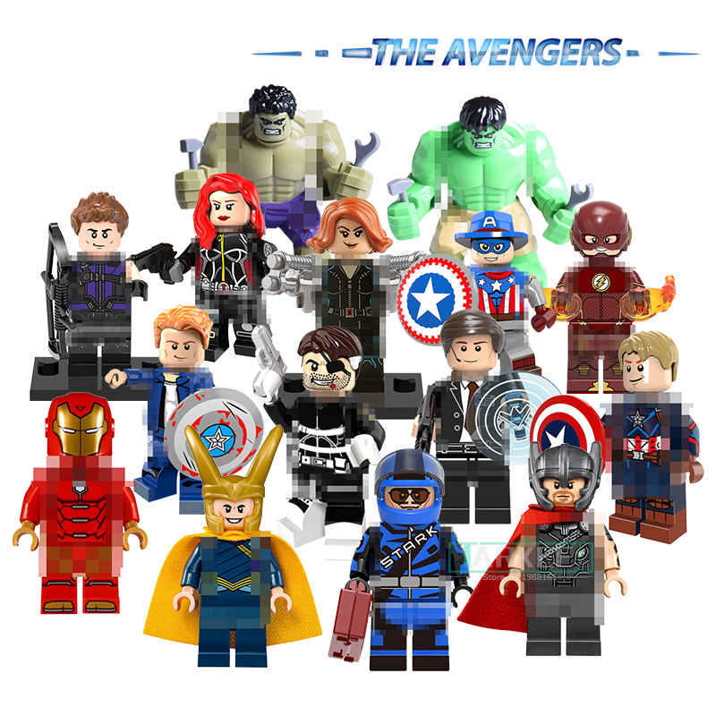 Marvel's The Avengers DC Super Heroes Figure Hulk Thors Black Widow Iron Man Hawkeye Captain America Building Blocks Kids Toys marvel avengers iron man black panther hawkeye captain america black widow pvc action figure collectible model toys 17cm