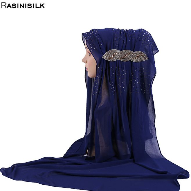 Arab New Headscarf Solid Chiffon Hijab Scarf Muslim Turban Women's Long Shawl Exquisite Rivet Ornamental Hijab Femme Musulman