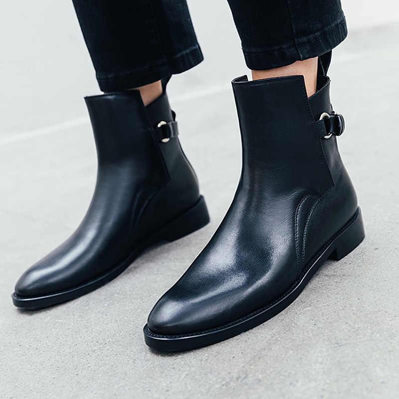 Donna-2019 sonbahar deri çizmeler kadın düz siyah yarım çizmeler kadınlar için yuvarlak ayak düşük topuklu toka Chelsea çizmeler bayan ayakkabıları