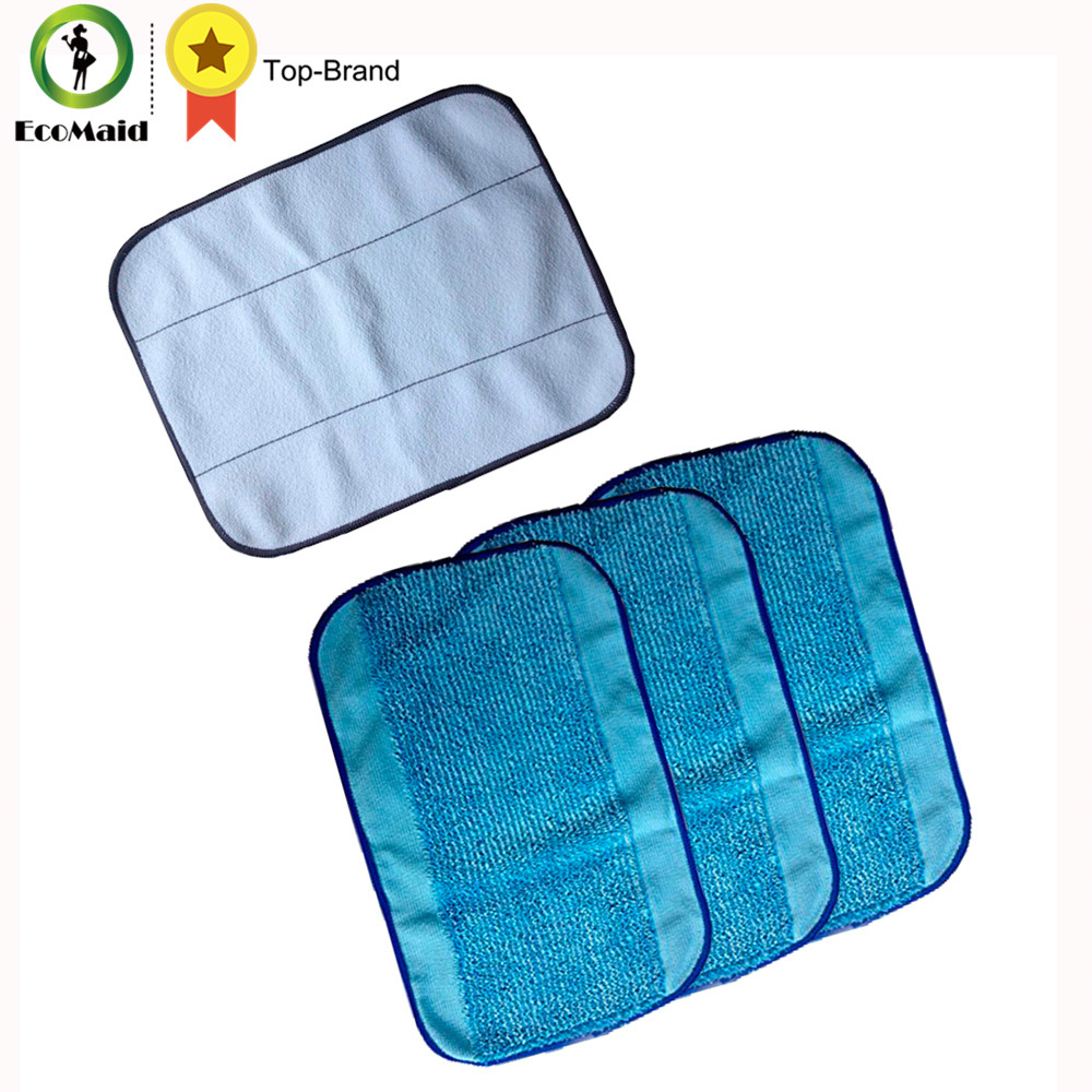 4-Pack Mixed Microfiber Replacement Mopping Cloths 3 Wet + 1 Dry For iRobot Braava 380 380t 320 Mint 4200 4205 5200 5200C Robot new 3pcs deep clean blue microfiber replacement washable wet mopping pads for braava jet 240 cleaner