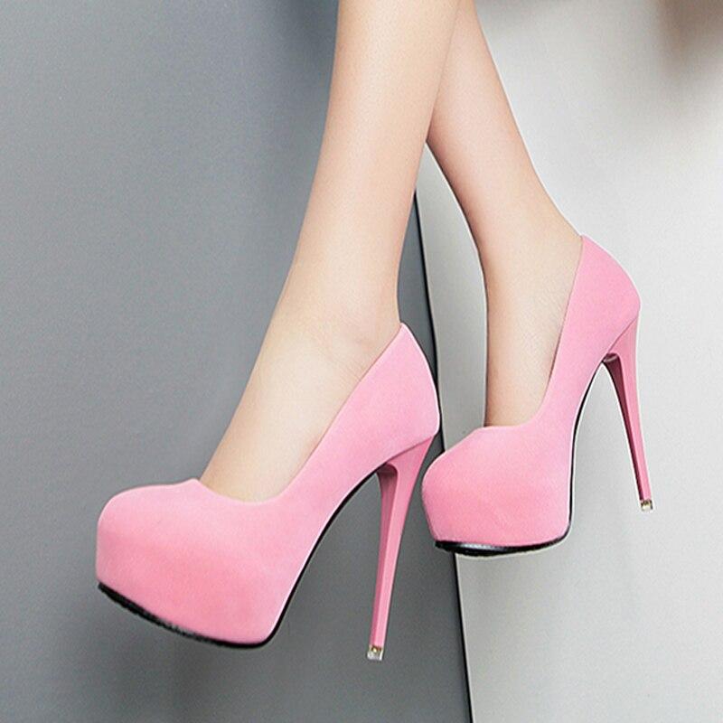 Vornehm 12 Cm Super High Heel Stiletto Wildleder Wasserdichte Plattform Sexy Frauen Schuhe 2018 Neue Wilden Einzigen Schuhe Einfache Art Und Weise High Heels Frauen Schuhe
