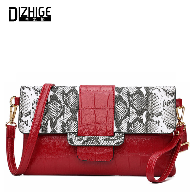 DIZHIGE Fashion Serpentine Ladies Crossbody Bag Pu Leather Bag Women Handbag High Quality Shoulder Messenger Bags Sac A Main