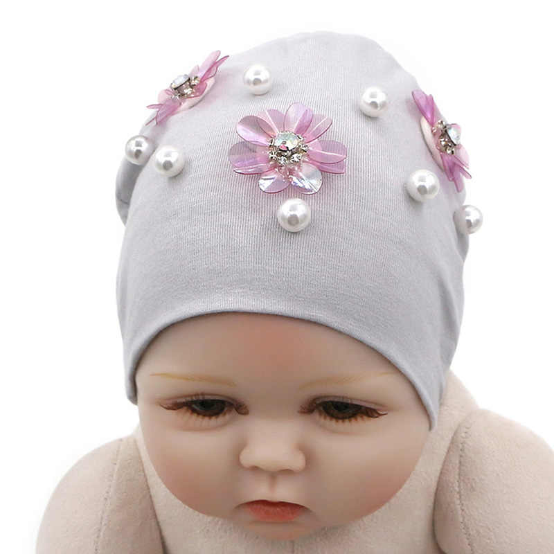 ... GZHilovingL New Born Baby Hats Solid Spring Autumn Winter Newborn  Flower Baby Beanies Hat Cotton Infant ... 76b104dbffb7