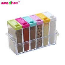 Memokey transparent Spice Jar Colorful Lid Seasoning Box 6pcs/set Kitchen Tools Salt Condiment Cruet Storage box Containers C