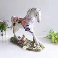 Colored glaze handicraft room residence porcelain plum flowers animal white ceramic horse crafts statue home decoration