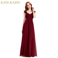 Real Photo Floor Length Long Evening Dresses Kleider Lang Elegant Party Dress Formal Gown Red Burgundy