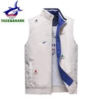TACE&SHARK Brand Sleeveless Shark Vest Tank Fashion Casual Jacket Vests for Men 2018 Autumn Winter Male Slim Coat Vest Homme Top