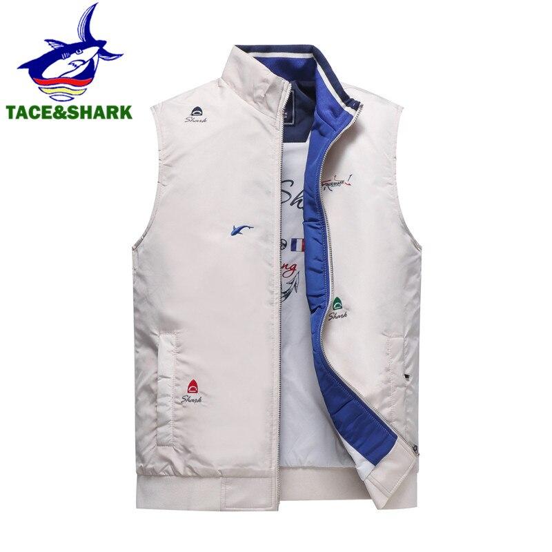 TACE & requin marque sans manches requin gilet réservoir décontracté veste gilets pour hommes 2018 automne hiver mâle mince manteau gilet haut pour homme