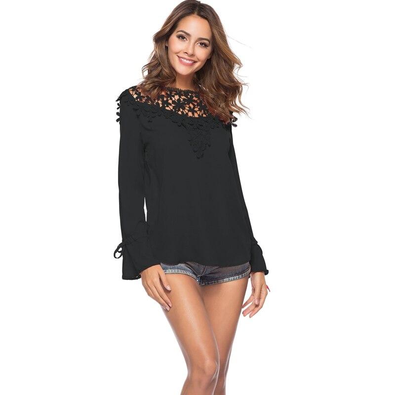 2018 Summer Lace Chiffon Blouses Tops Plus Size Women Floral Lace Crochet Hollow Out Chiffon Blouse Shirts Elegant Summer Top plus size butterfly sleeve crochet trim blouse lace tops