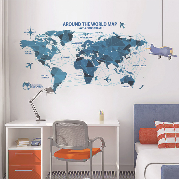 Creative world map wall stickers science technology origami map creative world map wall stickers science technology origami map wall decal home decor art living room bedroom backdrop wallpaper in wall stickers from home gumiabroncs Choice Image