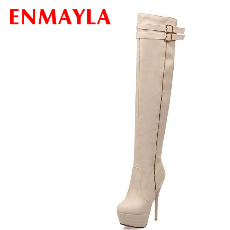 Big Size34-46 Women Boots Shoes Thin Heels High Fashion Over-the-Knee Platform Winter Long For Sexy