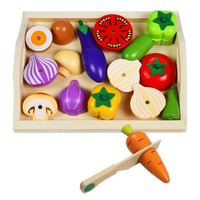 Wooden Vegetables Toys Pretend Food Set Magnetic Wooden Cutting Food Kids Role Play Food for Children 3 4 5 6 7 Years Old