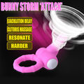 Davidsource Bunny ears Waterproof Vibe Cock ring ejaculation lock erection helper penis collar with vibrator Male adult sex toy