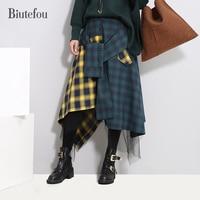 New arrival winter high waist plaid print skirts women fashion a-line gauze patchwork bow skirts
