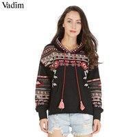 Vadim Vintage Geometric Embroidery Sequined Hooded Sweatshirt Oversized Tassel Bohemian Pullover Casual Loose Tops Sudaderas