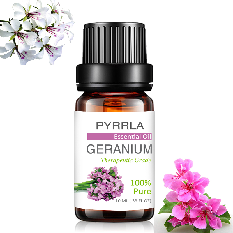 Pyrrla 10ml Geranium Pure Essential Oils For Aromatherapy Relieve Stress Humidifier Diffuser Massage Body Aromatic Essential Oil